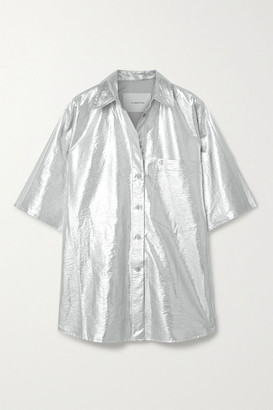 pushBUTTON Oversized Metallic Coated-twill Shirt