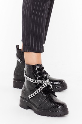 Nasty Gal Womens Chain Faux Leather Croc Boots with Cleated Sole - Black