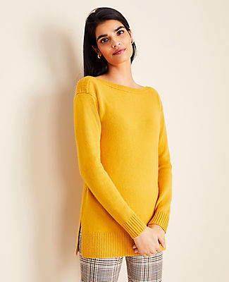 Ann Taylor Cashmere Boatneck Tunic Sweater