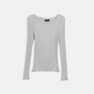 Theory Long-Sleeve Ruffle Tee in Ribbed Cotton-Modal