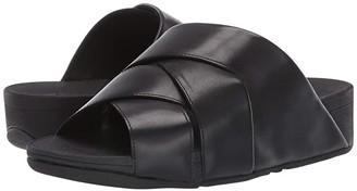 FitFlop Mocca Novaweave Slides (All Black) Women's Shoes