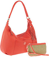 Isaac Mizrahi Live! Bridgehampton Leather Hobo with Wristlet