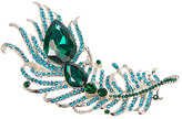 Green Rhinestone Peacock Feather Brooch