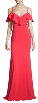 Jay Godfrey Flounce Sleeve Cold Shoulder Gown