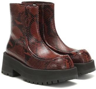 Marni Snake-effect leather ankle boots