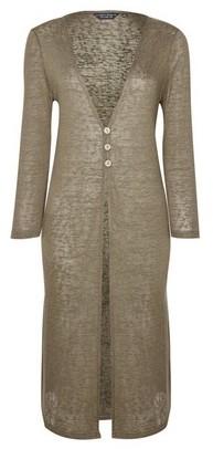 Dorothy Perkins Womens Khaki Linen Look Longline Button Cardigan, Khaki