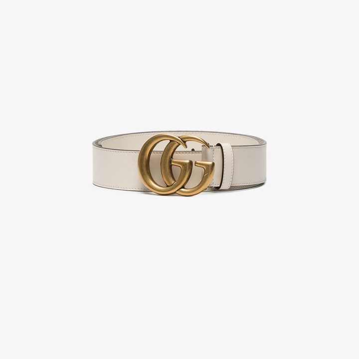 Gucci white GG Marmont Leather belt