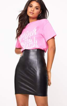 PrettyLittleThing Black Back Zip Faux Leather High Waisted Mini Skirt