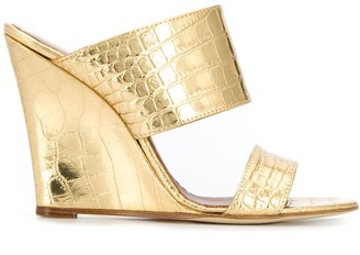 Paris Texas Crocodile-Effect Wedge Sandals