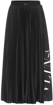 Valentino Pleated crepe midi skirt