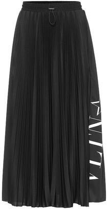 Valentino pleated crepe midi skirt