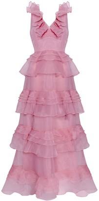 True Decadence Light Mauve Organza Tiered Maxi Dress