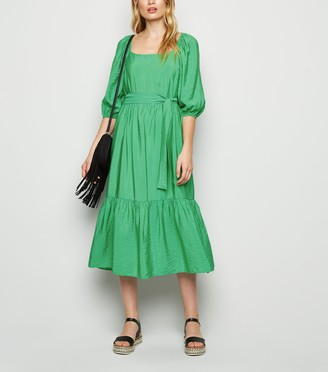 New Look Puff Sleeve Tiered Midi Dress