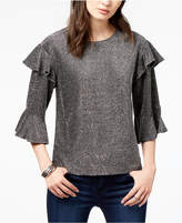J.o.a. Metallic Ruffled Top