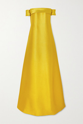 Reem Acra Off-the Shoulder Bow-detailed Mikado Gown - Yellow