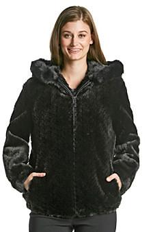 Gallery Mosaic Faux Fur Hooded Blouson Coat