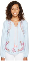 Romeo & Juliet Couture Chambray Embroidery Top with Tassel