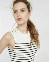 Express Striped Button Shoulder Ribbed Sleeveless Sweater
