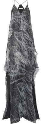 Halston Layered Metallic Printed Silk-blend Chiffon Gown