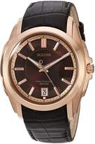 Bulova Men's Precisionist Longwood Rose-Tone Leather Watch Brown 97B110