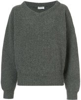 Lemaire open V-neck ribbed jumper