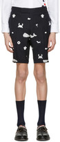 Thom Browne Navy Multi Icon Funmix Side Tab Shorts