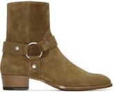 Saint Laurent Brown Suede Wyatt Harness Boots