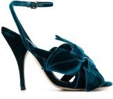 Marco De Vincenzo flower applique velvet sandals