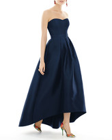 Alfred Sung Strapless Sweetheart High-Low Sateen Gown