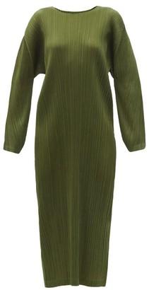Pleats Please Issey Miyake Technical-pleated Longline Dress - Khaki