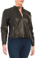 Ivanka Trump Plus Faux Leather Bomber Jacket