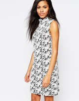 B.young High Neck Floral Jacquard Dress