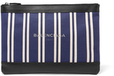 Balenciaga Leather-trimmed Striped Canvas Pouch - Blue