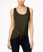Rebellious One Juniors' High-Low Tie-Front Tank Top
