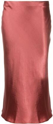 Vince Low-Waist Satin Midi Skirt