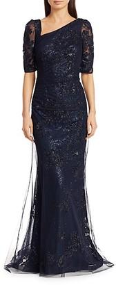 Teri Jon Embellished Asymmetrical Lace Gown
