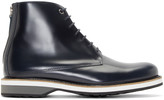 WANT Les Essentiels Navy Leather High-top Montoro Derbys