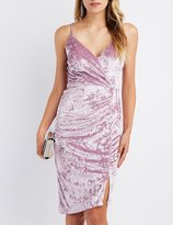 Charlotte Russe Velvet Asymmetrical Surplice Bodycon Dress