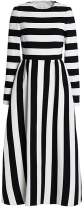 Valentino Striped Wool And Silk-blend Twill Midi Dress