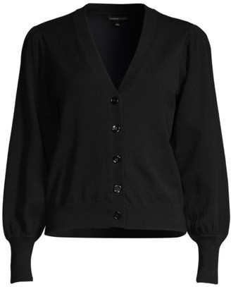 Minnie Rose Bishop-Sleeve Button-Up Cardigan