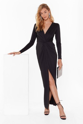 Nasty Gal Womens Don't Twist the Truth Plunging Maxi Dress - black - 12