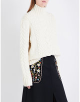 Vilshenko Ladies Cream Cable Knit Lightweight Sarah Cable-Knit Wool And Cashmere-Blend Jumper