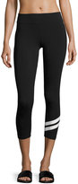 Marc NY Performance Track-Stripe Cropped Leggings, Black/White