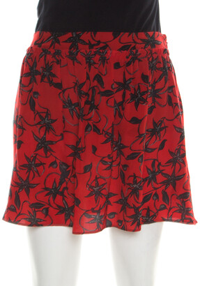 Zadig and Voltaire Red and Black Silk Juck Print Mini Skirt S