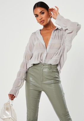 Missguided Dove Grey Sheer Crinkle Extreme Oversized Shirt