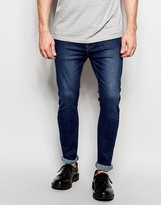 Dr Denim Jeans Leon Drop Crotch Skinny Tapered Fit Dark Stone