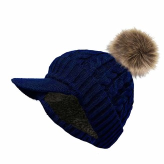 DINZIO Ladies Warm Cosy Lined Knitted Peaked Beanie Baseball Cap with Detachable Faux Fur Pompom-Navy