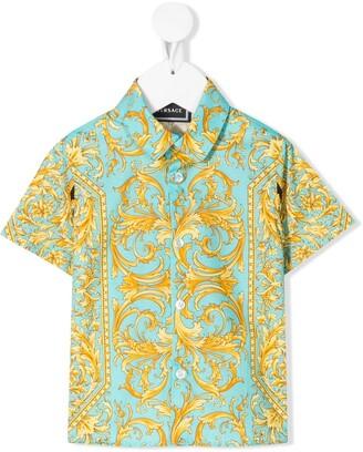 Versace Short Sleeve Baroque-Print Shirt