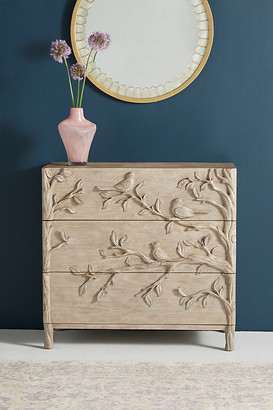 Anthropologie Handcarved Ornithology Three-Drawer Dresser By in Beige