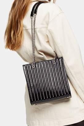 Topshop Womens Toff Black Studded Tote Bag - Black